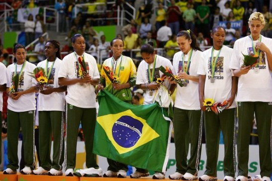 Arcain with Brazil's national team at the XV Pan-American Games