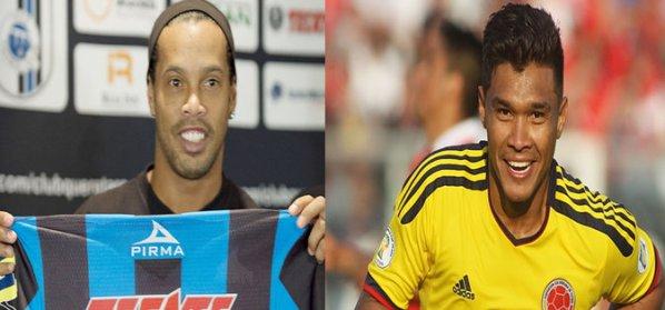 Futebol stars Ronaldinho Gaúcho (Brazilian) and Teófilo Gutiérrez (Colombian)