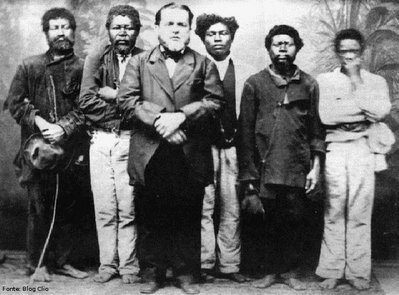 Slavery in Brazil: White master and his slaves