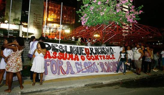 Black women from all over Brazil took to the streets to protests the Globo series. Photo from rally in Salvador, Bahia