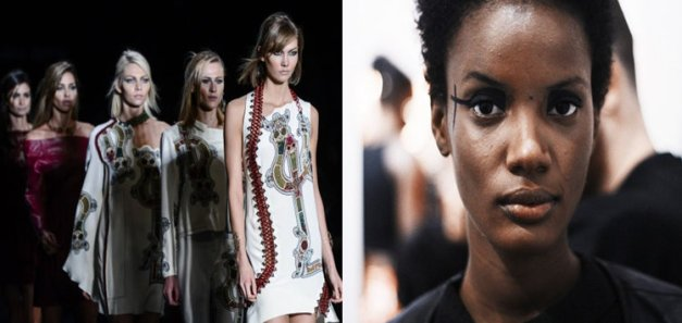 Models on the runway at the recent SPFW, left, and model Mariane Calazan