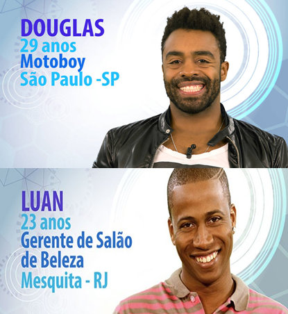 Douglas and Luan, two other black contestants on the 15th installment of Globo TV's 'Big Brother Brasil'
