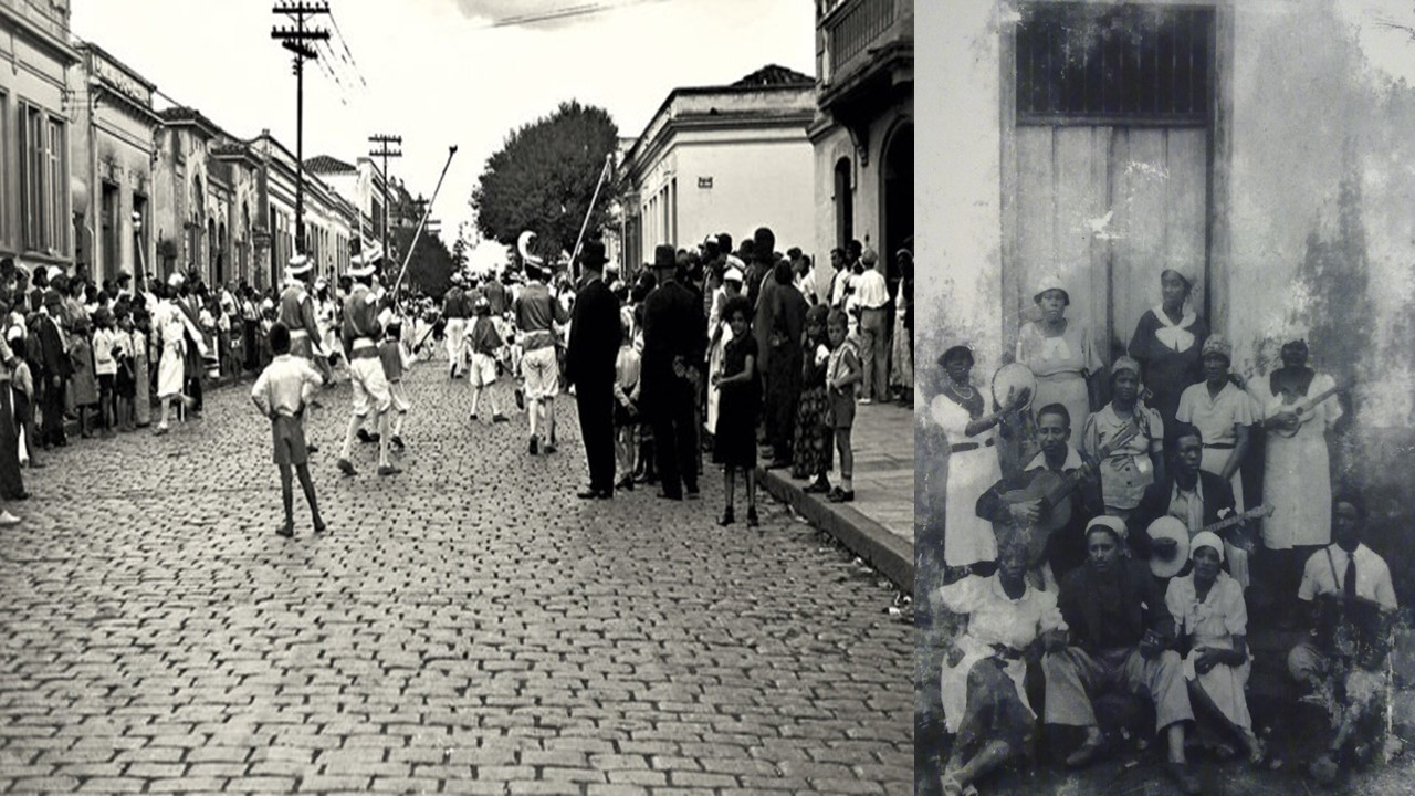 Carnaval bloco in Barra Funda, 1937, left, Grupo Carnavalesco Barra Funda, soon after its founding, in 1915