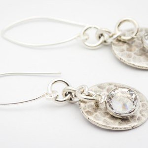 April Hammered Round Hill Tribe Silver Earrings
