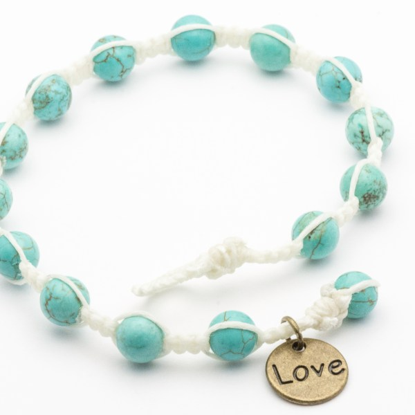 Turquoise White Waxed Cord Braided Anklet