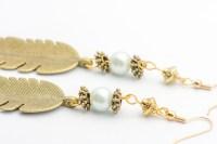 Feather Beaded Earrings | Antique Bronze Earrings - Black ...