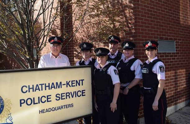 L-R: Sgt Jim Lynds, S/Const. Brenda Koldyk, S/Const. Randi Hull, Const. Derek Shaw, S/Const. Tamara Dick, Const. Renee Cowell. (Photo courtesy of Chatham-Kent police)