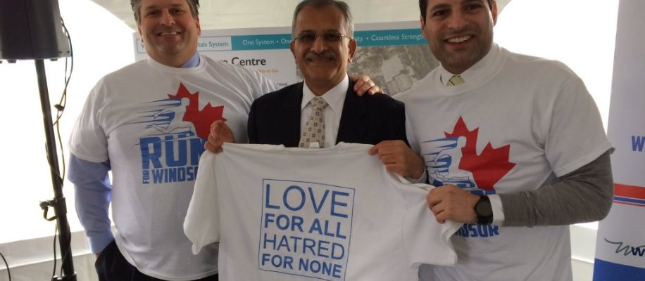 Windsor Regional Hospital CEO David Musyj (left), Pasha Qureshi (middle) and Windsor City Councillor Fred Francis (right) announce the first annual Run For Windsor, February 15, 2017. (Photo by Mike Vlasveld)