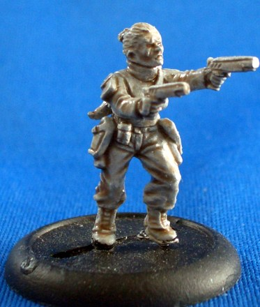 Female trooper with twin pistols