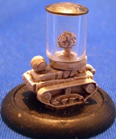 Brain in jar on tracks