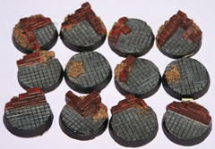12x Ruined Buildings 25mm bases.
