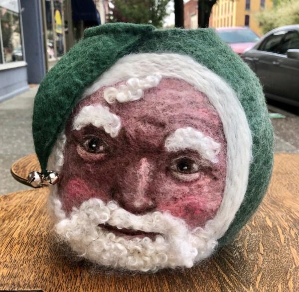 green santa felted vessel