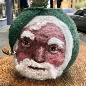 green santa felted vessel