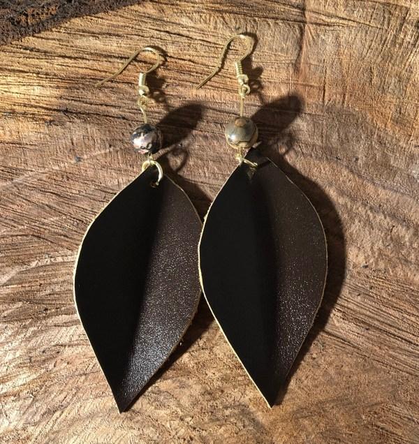 dark brown Colombian leather earrings