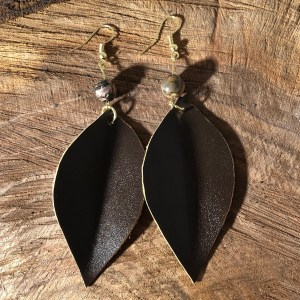 dark brown Colombian leather earrings
