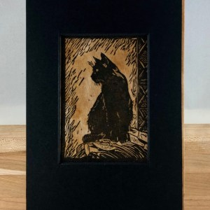 black cat lino cut