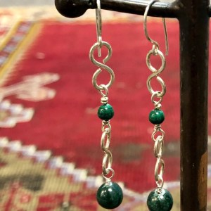 malachite green earrings healing stone