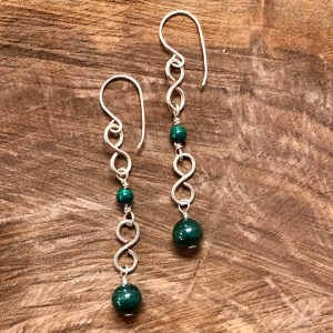 malachite green earrings healing