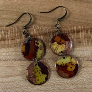 Brown gold alcohol ink earrings