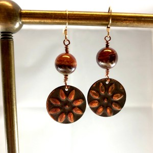 copper sun red jasper earrings