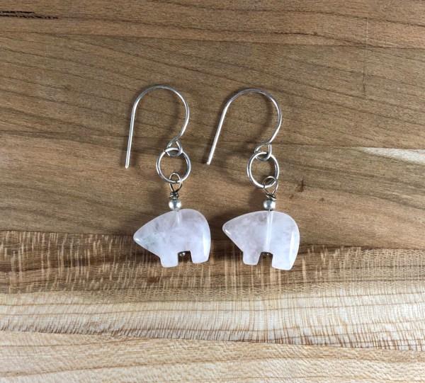 bear rose quartz earrings