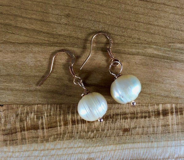 pearl and copper earrings