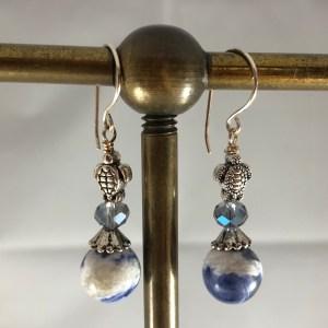crystal sodalite sterling turtle earrings