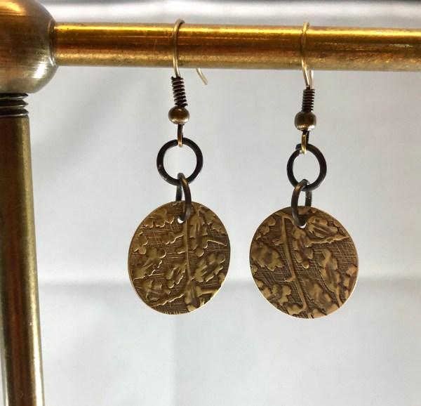 brass earrings floral
