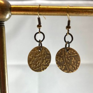 brass earrings floral
