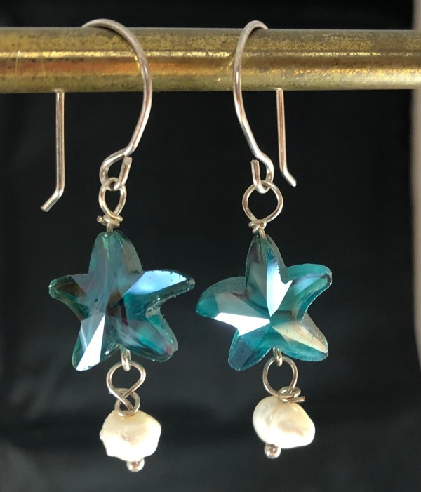 blue green crystal earrings