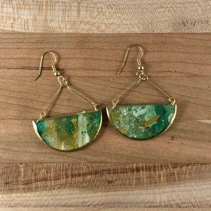 green gold resin earrings