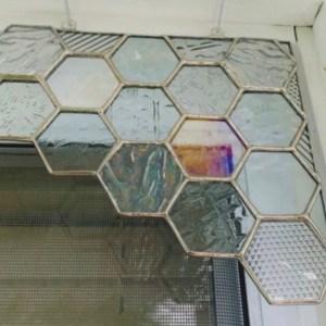 honeycomb honey stained glass corner