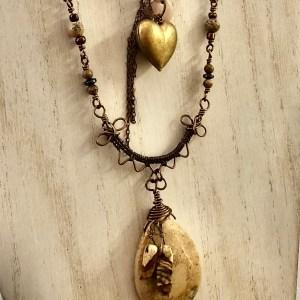 jasper necklace wire wrap