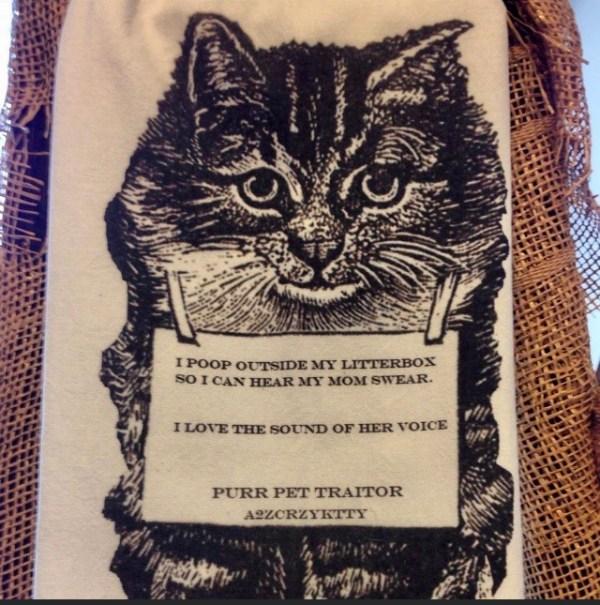 cat letterbox tea towel