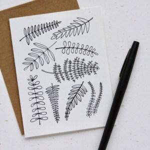 Fern Doodle Note Card
