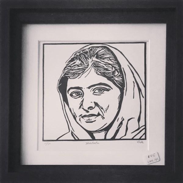 Malala Yousafzai picture artisan carved linoleum cut print