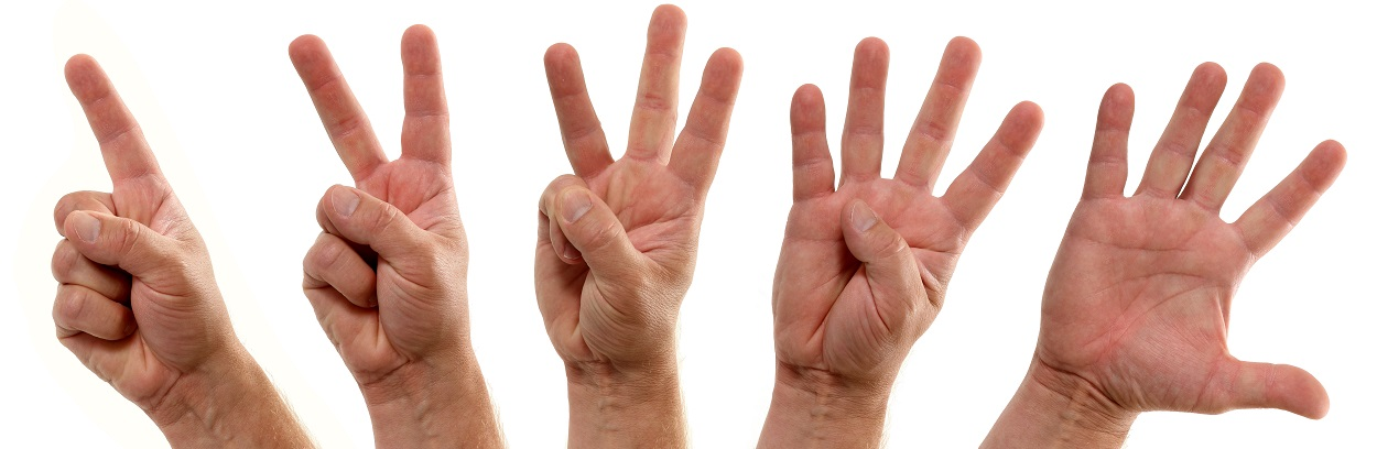 A series of progressive hands count down one two three four five