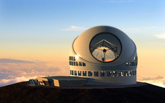 FILE - This undated file artist rendering made available by the TMT Observatory Corporation shows the proposed Thirty Meter Telescope, planned to be built atop Mauna Kea, a large dormant volcano in Hilo on the Big Island of Hawaii in Hawaii.  Seven people protesting a giant telescope atop Mauna Kea have been arrested, early Friday, July 31, 2015,  for defying an emergency rule created to prevent camping on the mountain that is held sacred by Native Hawaiians. (PHOTO CREDIT: AP Photo/TMT Observatory Corporation, File)
