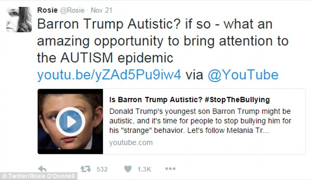 melania trump threatens over video suggesting barron autism calls rosie odonnell bully sharing