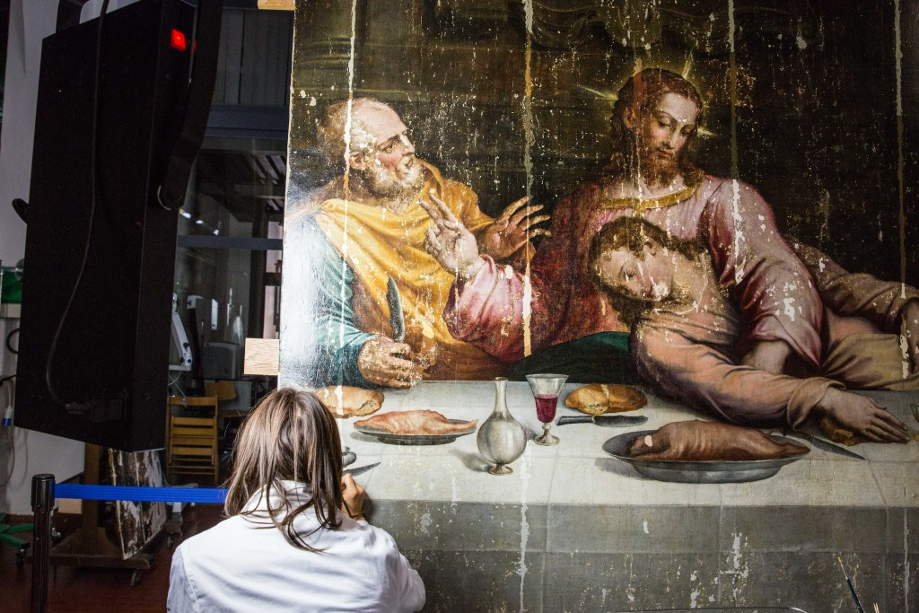 damaged vasari �last supper� painting unveiled after