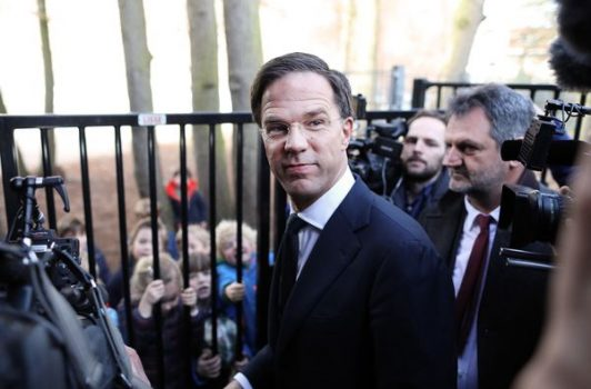 Mark Rutte, Dutch prime minister and leader of the Liberal Party (VVD), departs after casting his vote in the Dutch general election in The Hague, Netherlands, on Wednesday, March 15, 2017.