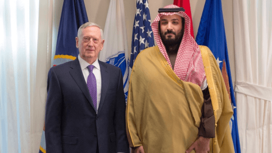 US Defense Secretary James Mattis and Saudi Deputy Crown Prince Mohammed bin Salman.