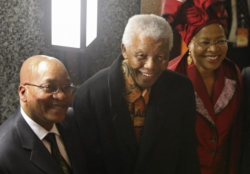 The late South African President Nelson Mandela and his then wife Graca Machel talk to President Jacob Zuma after the State of the Nation address in Cape Town on June 3, 2009. Both have served as leaders of the African National Congress. MIKE HUTCHINGS/REUTERS