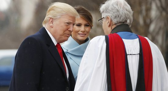 Then-President-elect Donald Trump and his wife, Melania, greet the Rev. Luis Leon as they arrive for a service at St. John's Episcopal Church across from the White House on Inauguration Day, Jan. 20. | AP Photo