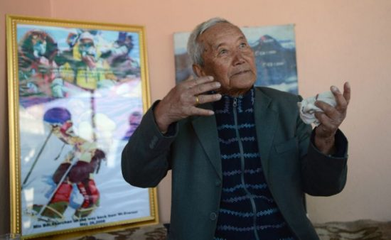 Min Bahadur Sherchan was on a bid to reclaim a title that he lost to Japanese mountaineer Yuichiro Miura when he perished at Everest base camp (AFP Photo/Prakash MATHEMA)