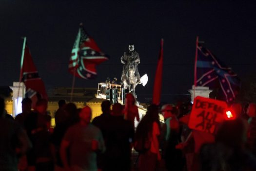 A statue of Confederate Gen. P.G.T. Beauregard is prepared for removal from the entrance to City Park in New Orleans, Tuesday. (Scott Threlkeld/AP)