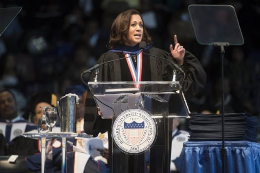 Sen. Kamala D. Harris (D-Calif.) gives the convocation oration at the Howard University commencement ceremony in Washington. (Marvin Joseph/The Washington Post)