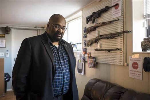 Kevin Jones, the Ohio state director of the National African-American Gun Association and co-owner of Urban Sports Unlimited in Cleveland. (Angelo Merendino / for NBC News)