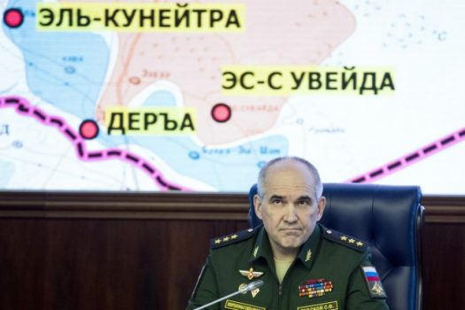 Col. Gen. Sergei Rudskoi of the Russian General Staff speaks to the media in the Defense Ministry in Moscow, Friday, May 5, 2017, about an agreement to set up four de-escalation zones in Syria. (Pavel Golovkin/AP)