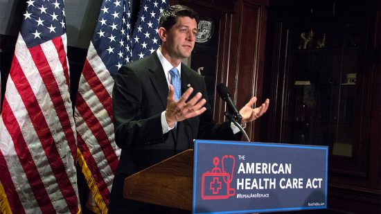 Speaker of the House Paul Ryan (R-Wis.) and House Republican leadership speak to reporters after a closed-door House Republican Conference meeting, at the Republican National Committee, on Wed., March 8.